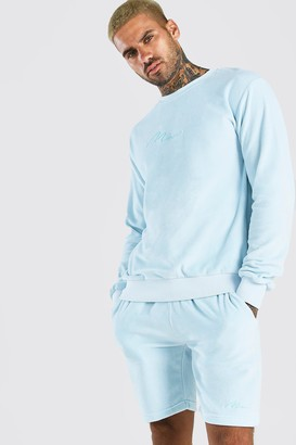 boohoo Mens Blue MAN Signature Velour jumper Short Tracksuit, Blue