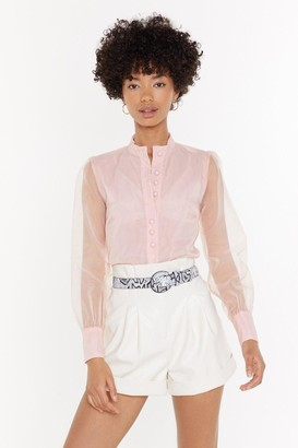 Nasty Gal Womens Business in the Front Sheer Blouse - Blush