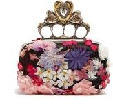 Alexander McQueen Floral-embellished satin knuckle clutch