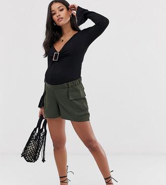 Asos DESIGN Maternity satin pocket detail shorts-Green