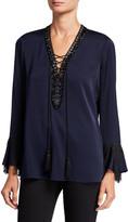 Kobi Halperin Melinda Lace-Up Long-Sleeve Fringe-Trim Silk Blouse