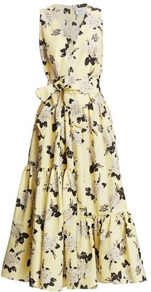 Erdem Mimosa Rosemont Wallpaper Sleeveless Belted Dress