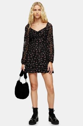 Topshop Womens Black Floral Lace Gypsy Mini Dress - Black