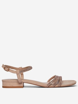 Dorothy Perkins Wide Fit Soo Jewled Sandals- Nude