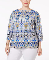 Charter Club Plus Size Scroll-Print Boat-Neck Top, Only at Macy's