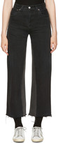 RE/DONE Re-done Black High-rise Wide-leg Crop Jeans