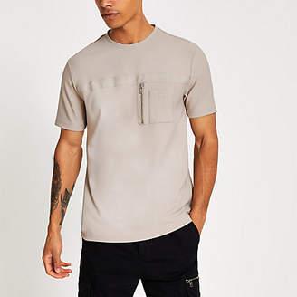 River Island Stone Maison Riviera slim fit utility T-shirt