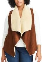 Chaps Plus Size Faux-Shearling Open Front Vest