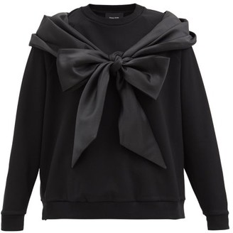 Simone Rocha Satin-tie Cotton-jersey Sweatshirt - Black