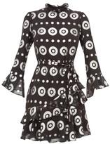 Saloni Marissa Metallic-fil Coupe Silk-blend Dress - Womens - Black Silver