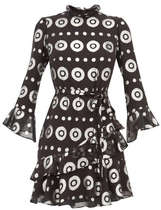 Saloni Marissa Metallic-fil Coupe Silk-blend Dress - Black Silver
