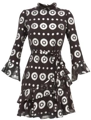 Saloni Marissa Metallic Fil Coupe Silk Blend Dress - Womens - Black Silver