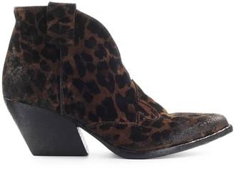 Elena Iachi Cheetah Print Suede Texan Ankle Boot