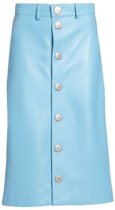 Balenciaga Leather Snap-Button Midi Skirt
