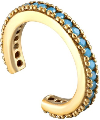 Seol + Gold 18Ct Gold Vermeil Turquoise Small Cz Cuff Earring
