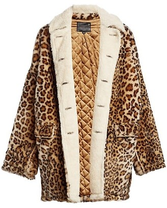 R 13 Hunting Leopard Print Shearling-Lined Jacket