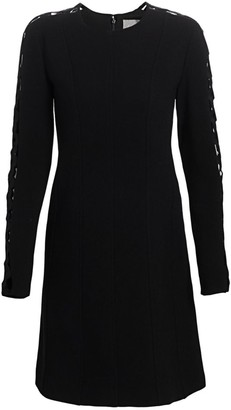 Lela Rose Embroidered Cutout Wool Crepe Tunic Dress