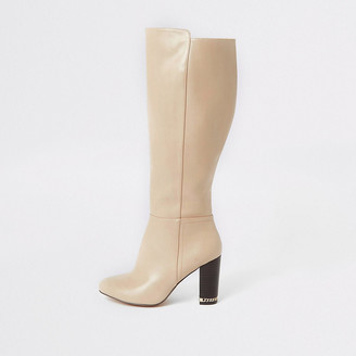 River Island Beige knee high wide fit heeled boots