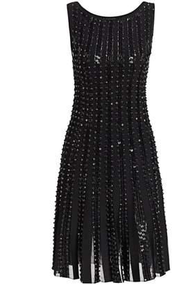 Zac Posen Embroidered Radiant Stripe Knit A-Line Dress