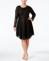 American Rag Trendy Plus Size Lace-Up Lace Dress, Only at Macy's