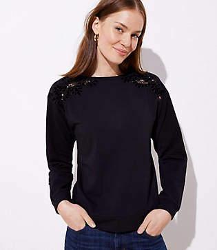 LOFT Velvet Lace Shoulder Sweatshirt