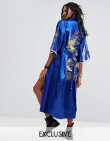 Reclaimed Vintage Inspired Festival Kimono With Back Print And Sleeve Trim