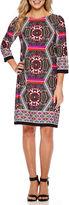 London Times 3/4-Sleeve Hexagon Medallion Shift Dress