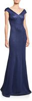 St. John Sequin Birdseye Knit V-Neck Sleeveless Gown