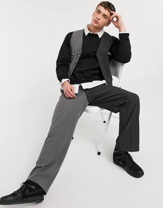 Jaded London spliced pinstripe loose fit trouser in black and grey