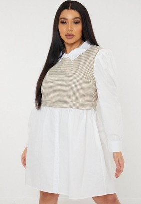 Missguided Plus Size Blush Houndstooth Sweater Insert Shirt Dress