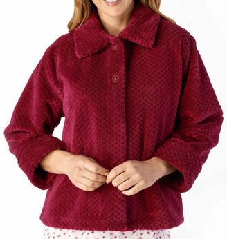 "Slenderella Ladies 24""/61cm Soft Thick Pink Waffle Fleece Collared Button Up Bed Jacket Size Small 10 12"
