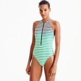 J.Crew Zip-front one-piece swimsuit in ombré stripe