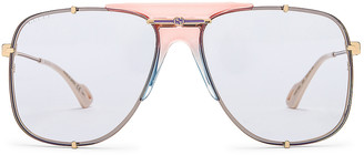 Gucci Embellished Pilot Oversized Square Sunglasses in Shiny Gold & Light Blue   FWRD