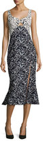 Prabal Gurung Bamboo-Print Flounce-Hem Midi Dress, Navy/White