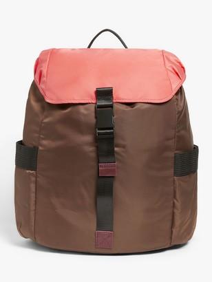 KIN Clip Nylon Colour Block Backpack, Khaki/Pink/Plum