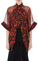 Givenchy Women's Rose-Print Silk Tieneck Blouse
