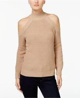 INC International Concepts Petite Mock-Neck Cold-Shoulder Sweater, Created for Macy's
