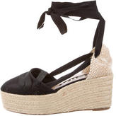 Rochas Woven Lace-Up Wedges