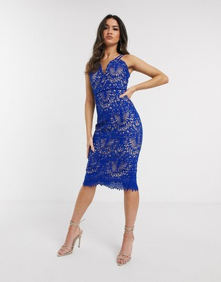 Girl In Mind strap detail crochet lace midi dress in cobalt