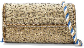 Antik Batik Wolvy Bead-embellished Cotton-velvet Clutch