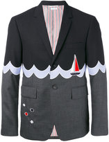 Thom Browne boat motif blazer - men - Cotton/Cupro/Wool - 1