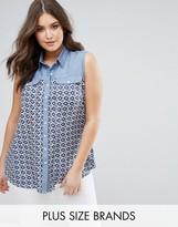 Koko Denim Contrast Tile Print Shirt