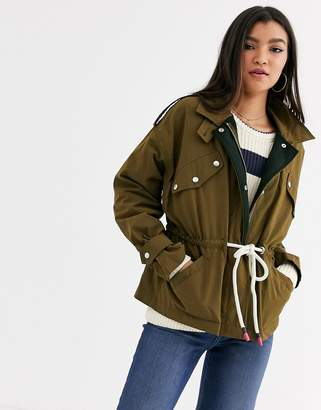 Maison Scotch military jacket with drawcords-Green