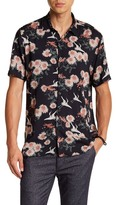 Topman Short Sleeve Navy Floral Japanese Print Regular Fit Shirt
