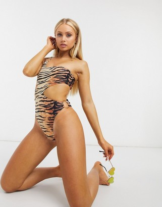South Beach asymmetric ring cut out swimsuit in animal