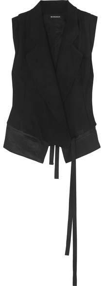 Ann Demeulemeester Belted Satin-trimmed Wool Vest - Black