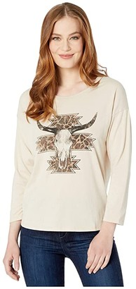 Rock and Roll Cowgirl Long Sleeve Loose Fit Top 48T3155 (Natural) Women's Clothing