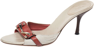 Gucci Beige/Red Canvas and Leather Open Toe Slide Sandals Size 38