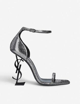 Saint Laurent Opyum 110 metallic leather-heeled sandals