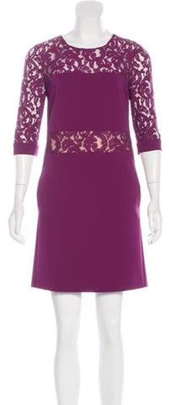 Alberta Ferretti Lace-Paneled Shift Dress Plum Lace-Paneled Shift Dress